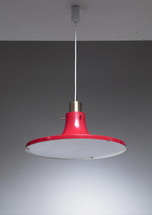 Bloomberry - Hans-Agne Jakobsson Red Metal Pendant, Sweden, 1960s