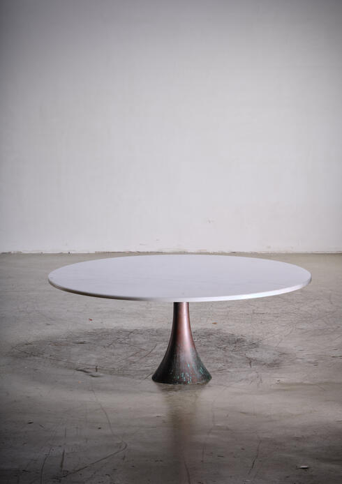 Bloomberry - Angelo Mangiarotti bronze and marble coffee table for Bernini