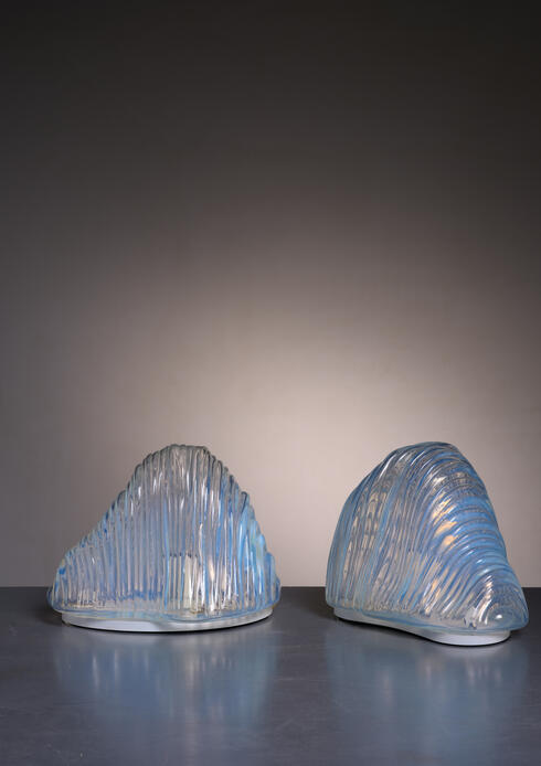 Bloomberry - Pair of Carlo Nason Iceberg table lamps for Mazzega