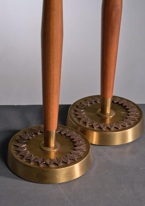 Bloomberry - Pair of ASEA wood and brass table lamps