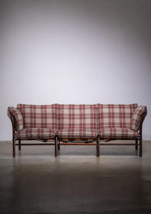 Bloomberry - Arne Norell three seater sofa with pleated wool upholstery
