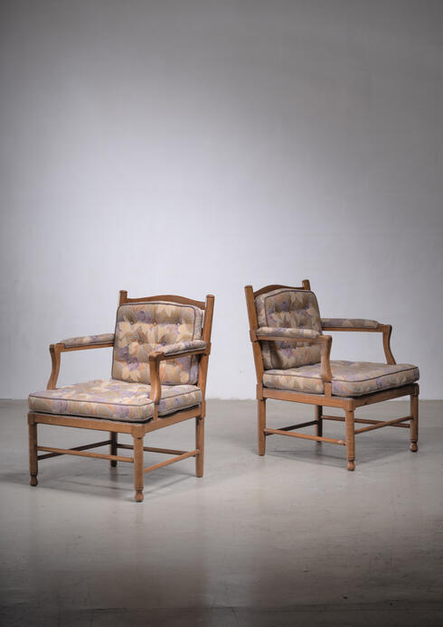Bloomberry - Pair of Scandinavian pine Gripsholm armchairs