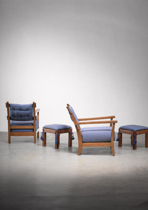 Bloomberry - Pair of Hugo Gorge 'Bully' chairs with matching ottomans