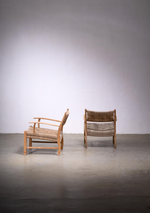Bloomberry - Fritz Hansen pair of beech and seagrass chairs