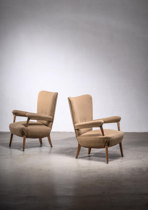Bloomberry - Pair of Ottorino Aloisio chairs for Colli