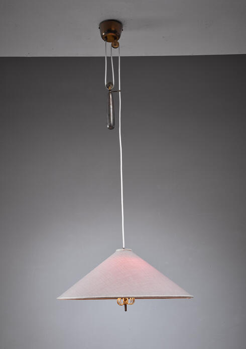 Bloomberry - Paavo Tynell pendant with fabric shade, branded Taito, Finland, 1950s