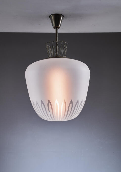 Bloomberry - Large Swedish frosted glass and brass pendant, 1940s