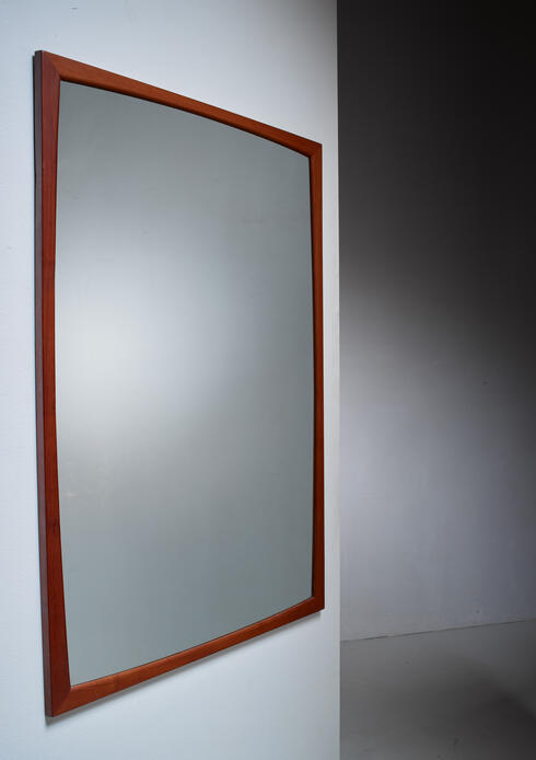 Bloomberry - Large Aksel Kjersgaard rectangular teak wall mirror, Denmark, 1960s