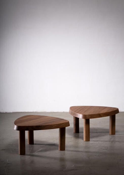 Bloomberry - Pierre Chapo pair of small triangular coffee tables, France