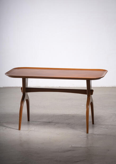 Bloomberry - Scandinavian Modern wooden coffee table with arched legs