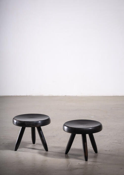 Bloomberry - Pair of Charlotte Perriand low black tripod stools