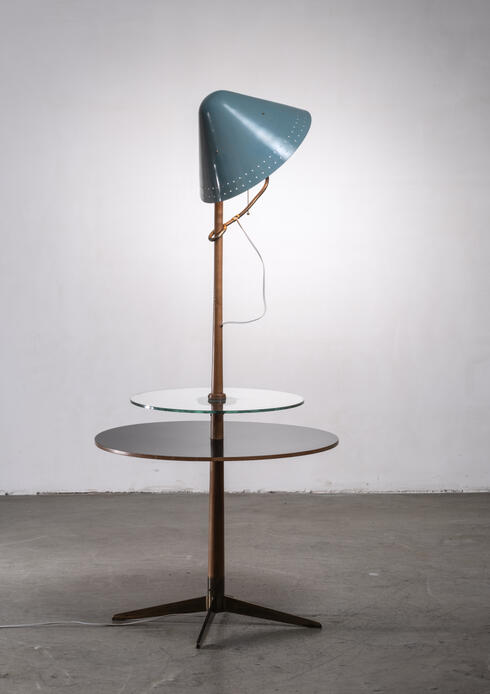 Bloomberry - Floor lamp with wood and glass plateau, Germany