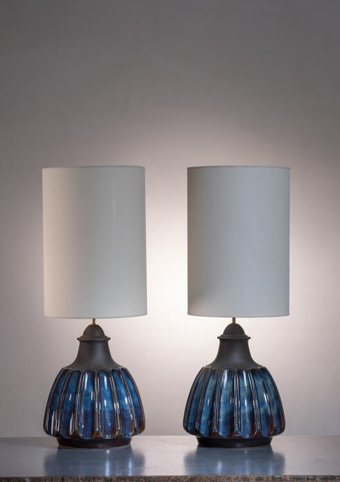Bloomberry - Pair of very large Soholm ceramic table lamps, Denmark