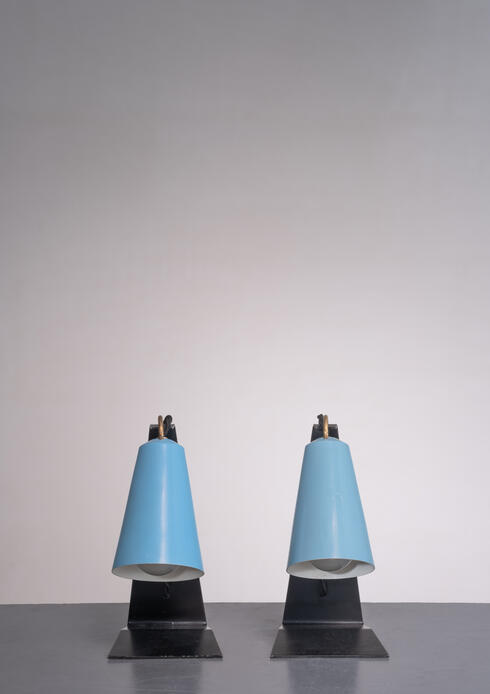 Bloomberry - Kalmar pair of black and blue metal table lamps