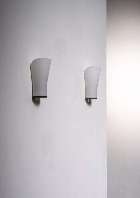 Bloomberry - Pair of Lyfa opaline glass and brass wall lamps