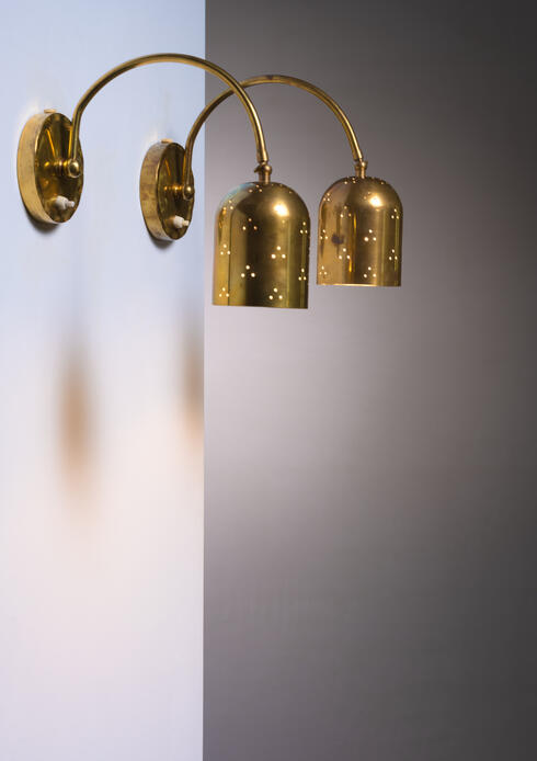 Bloomberry - Pair if pivoting Idman brass wall lamps