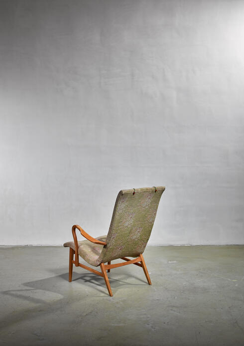 Bloomberry - Carl-Axel Acking Lounge Chair with Aged Floral Upholstery, Sweden, 1940s