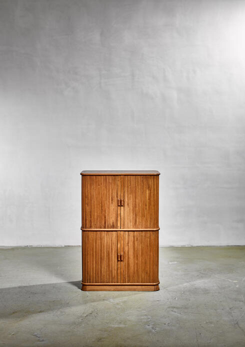 Bloomberry - Oak cabinet with tambour doors, Denmark, 1940s