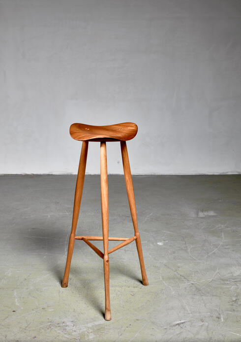 Bloomberry - Karl Seemuller studio craft teak stool, USA, 1973.