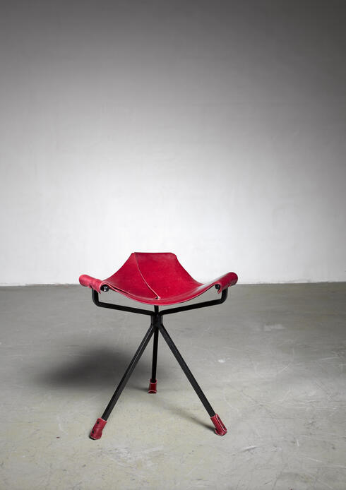 Bloomberry - Dan Wenger iron and leather 'Quark' Stool, USA
