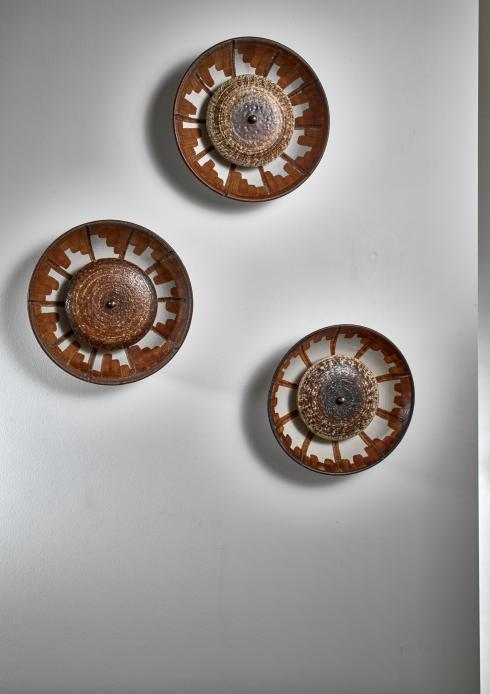Bloomberry - Set of three Axella Stentøj ceramic wall lamps, Denmark, 1960s