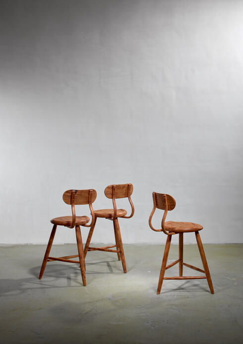 Bloomberry - Kai Pedersen Set of 3 Bar Stools with Removable Backrest, USA, 1983