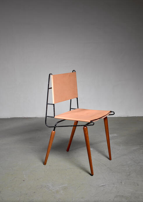 Bloomberry - Allan Gould Minimalist Leather and Iron Chair, USA, 1950s