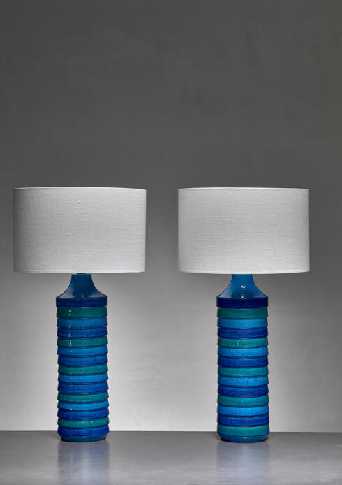 Bloomberry - Aldo Londi pair of large ceramic table lamps for Bitossi, Italy, 1960s
