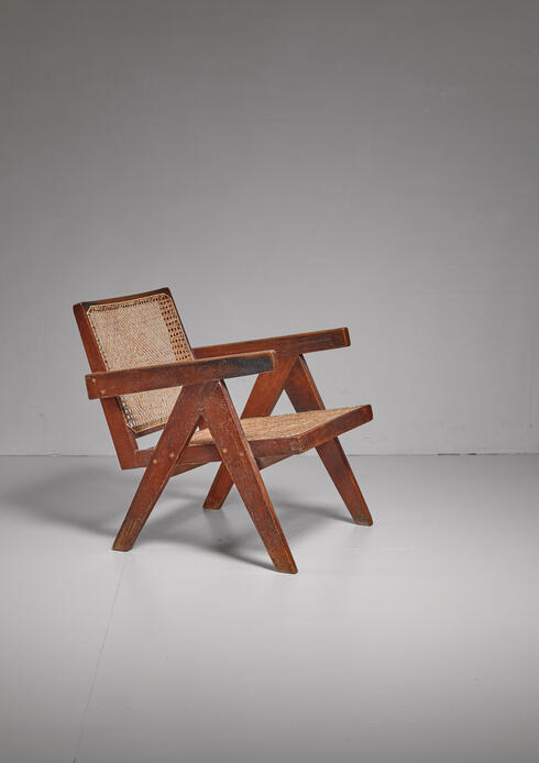 Bloomberry -  Pierre Jeanneret Chandigarh High Court V-leg chair, 1950s