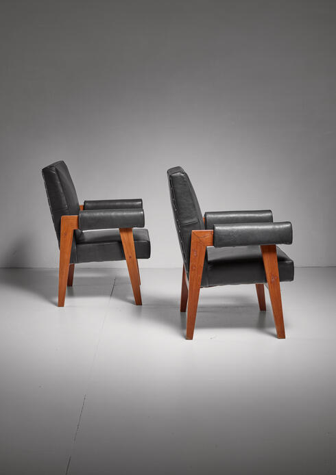 Bloomberry - Pierre Jeanneret pair of Chandigarh High Court armchairs, 1950s