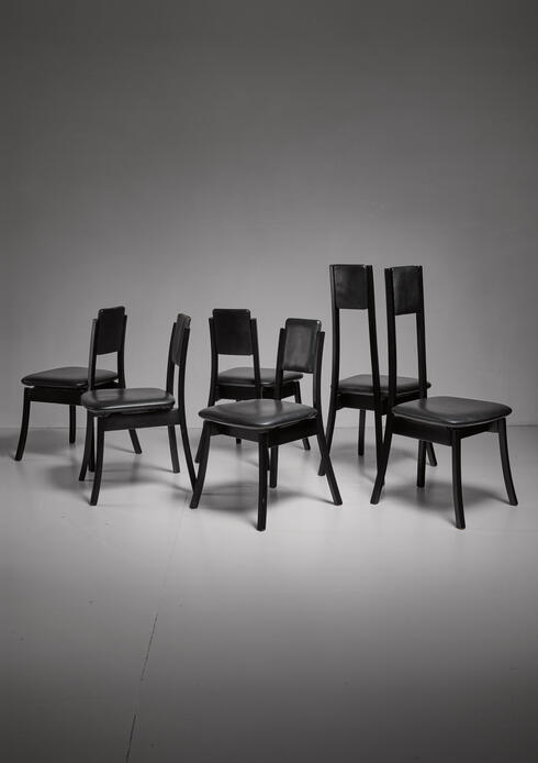 Bloomberry - Angelo Mangiarotti set of six dining chairs, Italy