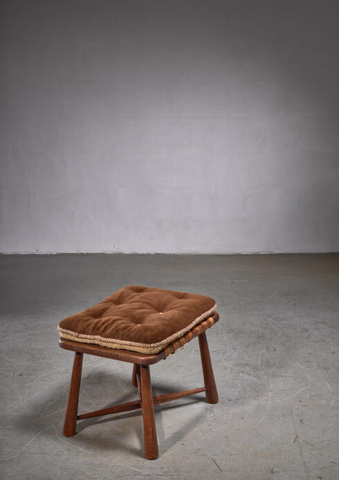 Bloomberry - Modernist wooden stool with mohair cushion, Austria