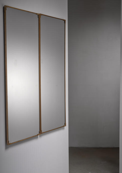 Bloomberry - Pair of rectangular brass wall mirrors, Italy