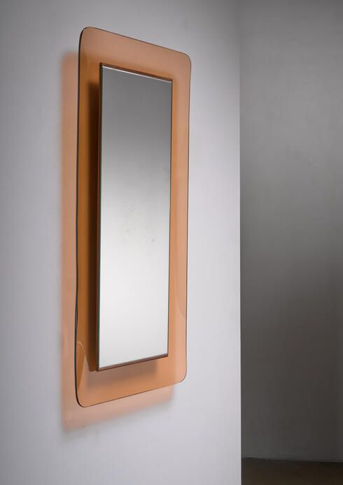 Bloomberry - Max Ingrand for Fontana Arte rectangular glass wall mirror
