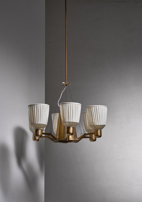 Bloomberry - Hans Bergstrom 1940s six-armed chandelier