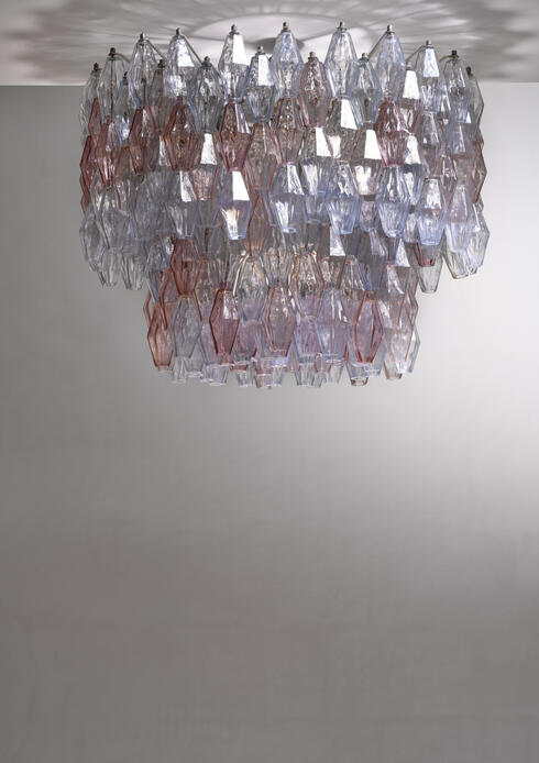 Bloomberry - Large Paolo Venini Murano Glass 'Poliedri' Chandelier