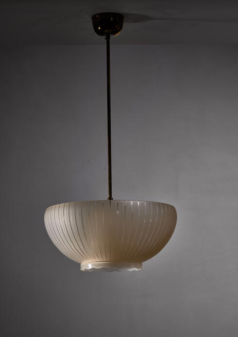 Bloomberry - Cream colored striped glass double layered pendant, 1930s