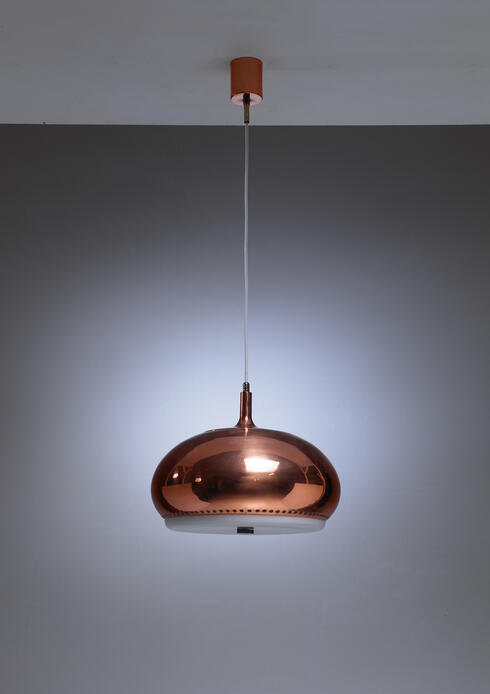 Bloomberry - Large Full Copper Pendant Perforated Underneath, Italy, 1950s