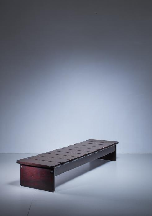 Bloomberry - Geraldo de Barros wooden bench from Brazil, 1960s