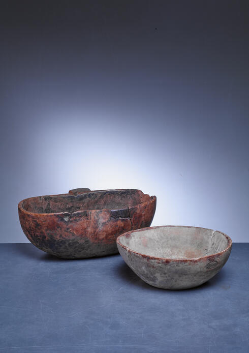 Bloomberry - Pair of folk art wood bowls, Sweden