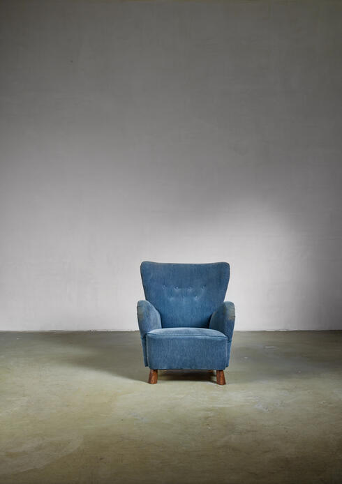 Bloomberry - Blue Otto Schulz lounge chair, Sweden, 1930s