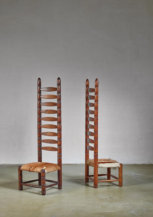 Bloomberry - Pair of high back ladder chairs with goatskin seating, 1960s