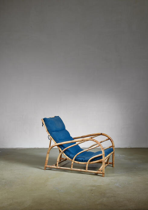Bloomberry - Bamboo and rattan lounge chair, Sweden, 1930s