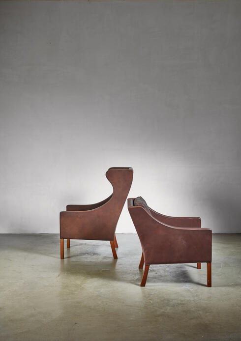 Bloomberry - Borge Mogensen Brown Leather Wingback and Lounge Chair  with Ottoman