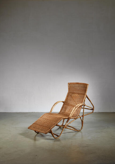 Bloomberry - Bamboo and cane adjustable chaise, 1950s