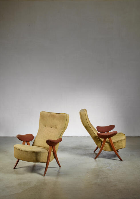 Bloomberry - Pair Theo Ruth chairs, The Netherlands, 1950s