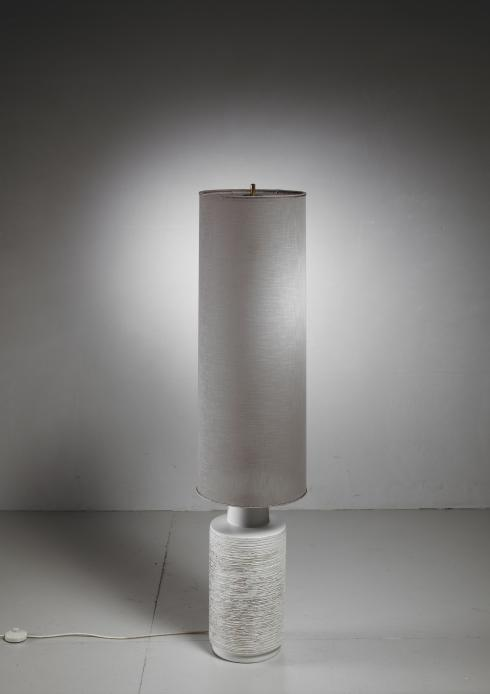 Bloomberry - Off-white Ceramic Floor Lamp With Large Cylindric Shade, 1960s