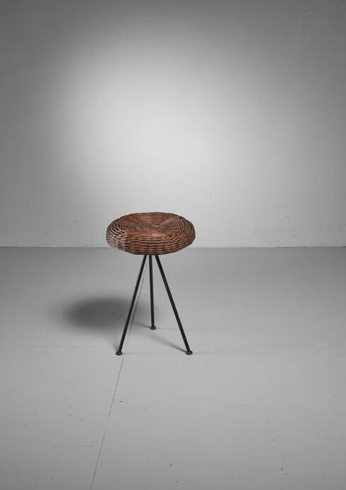 Bloomberry - Norman Cherner Iron with Rattan Stool for Konwiser, USA, 1950s
