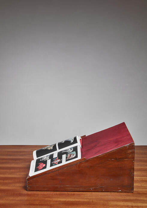 Bloomberry - Pierre Jeanneret teak and leather reading stand from Chandigarh