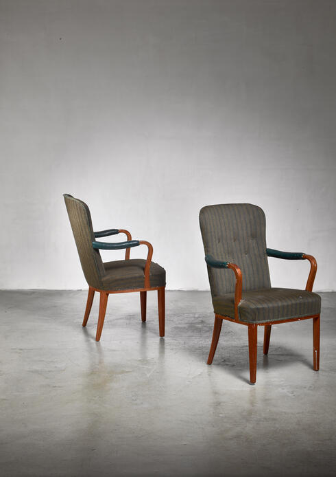 Bloomberry - Pair of Axel Larsson armchairs, Sweden, 1940s